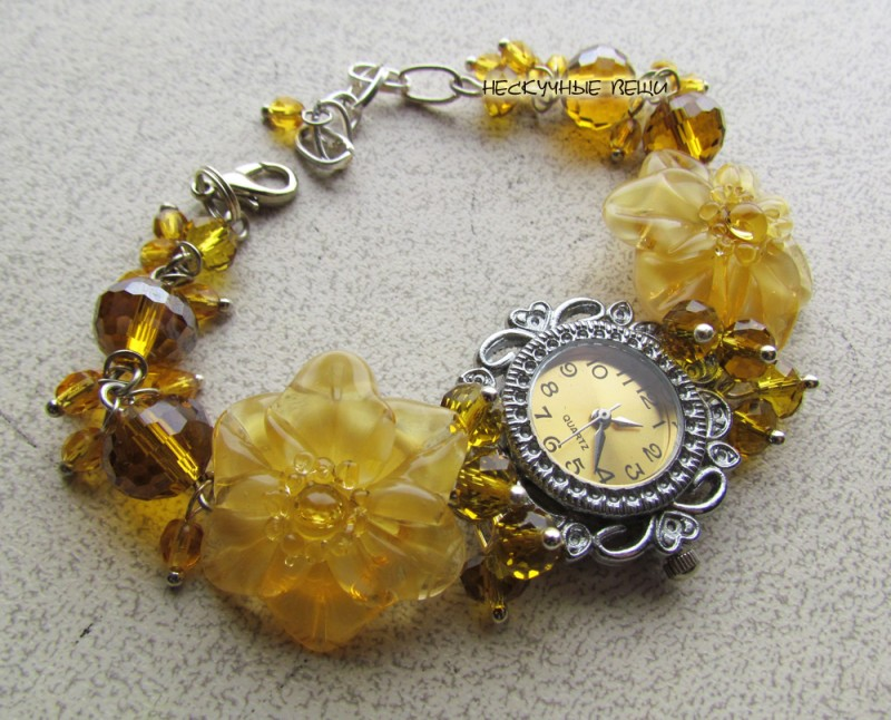 Цветочный мёд наручные часы с бусинами лэмпворк