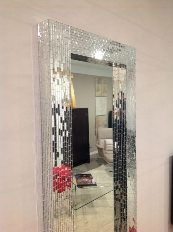 Зеркало в мозаичной раме, серебряный блеск