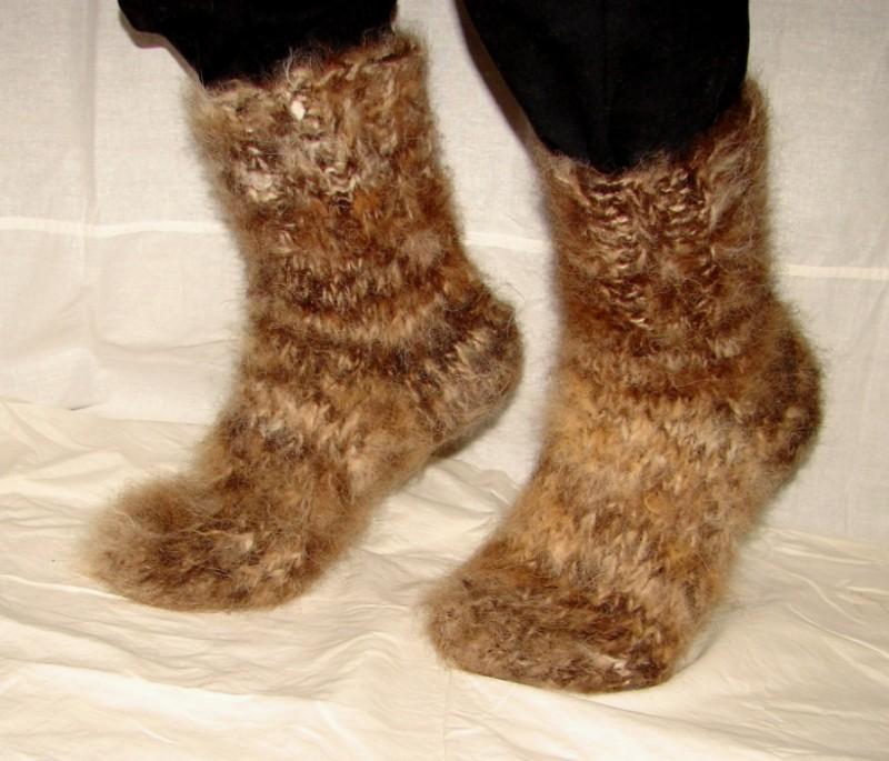 Носки мужские  пуховые толстые артикул №37м из собачьего пуха .Из собачьей шерсти.