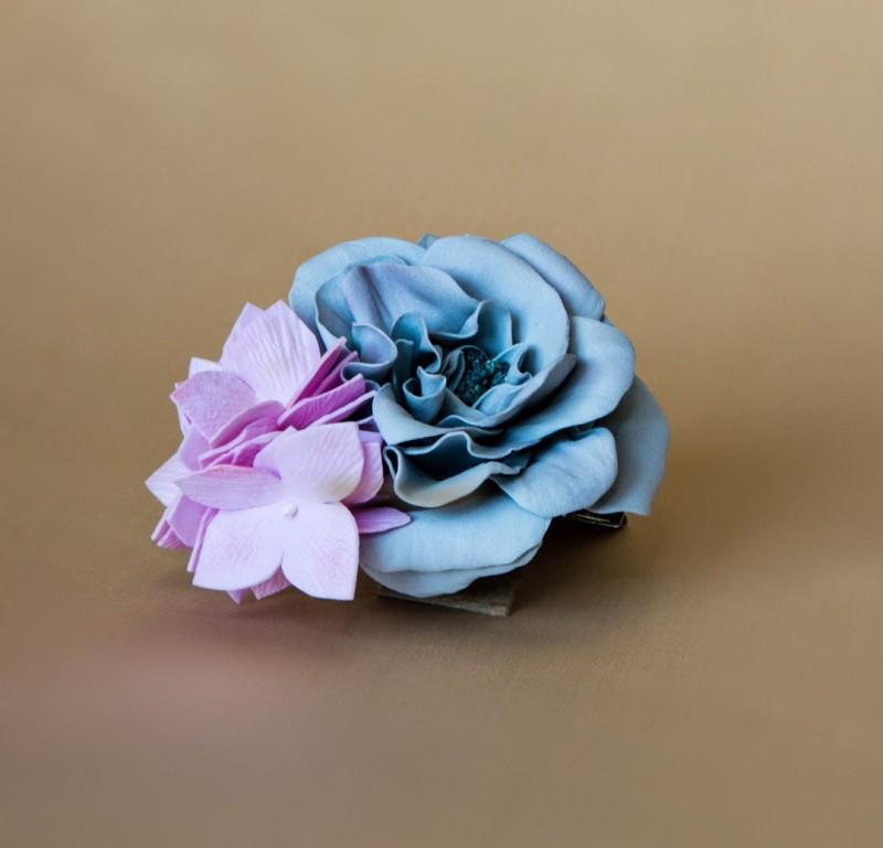 Брошь-заколка «Роза с гортензией».
