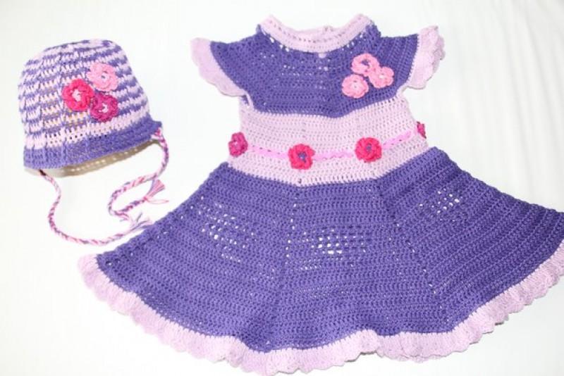 Авторский комплект Сиреневое волшебство шапочка + платьице