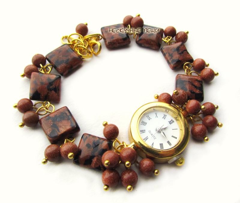 Золотой песок наручные часы с авантюрином