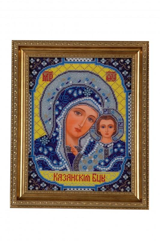 Икона вышитая бисером  Пресвятая Богородица Казанская