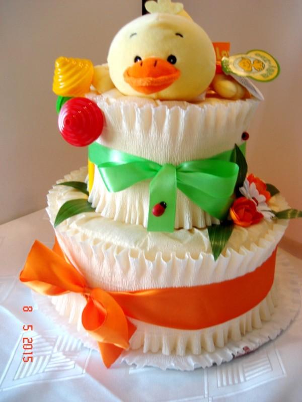 Торт из памперсов Нежность(с утенком) для мальчика весом до 5 кг.