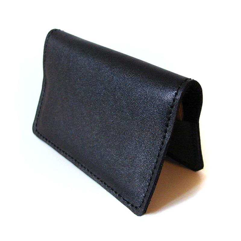 Кардхолдер из натуральной кожи для хранения визиток и пластиковых карт  Обсидиан.