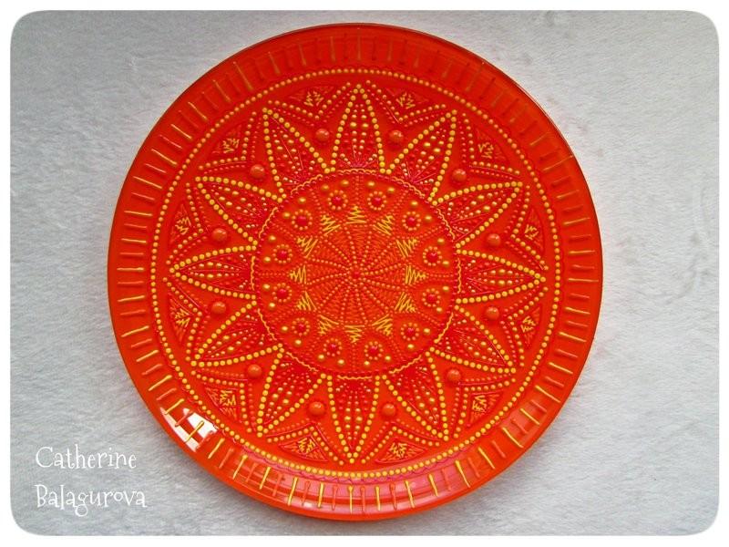 Тарелка стеклянная декоративная *Оранжевый Солнцеворот*