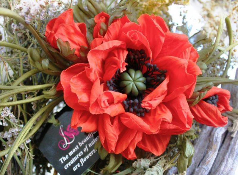 цветы из ткани брошь Красный мак. Авторская работа