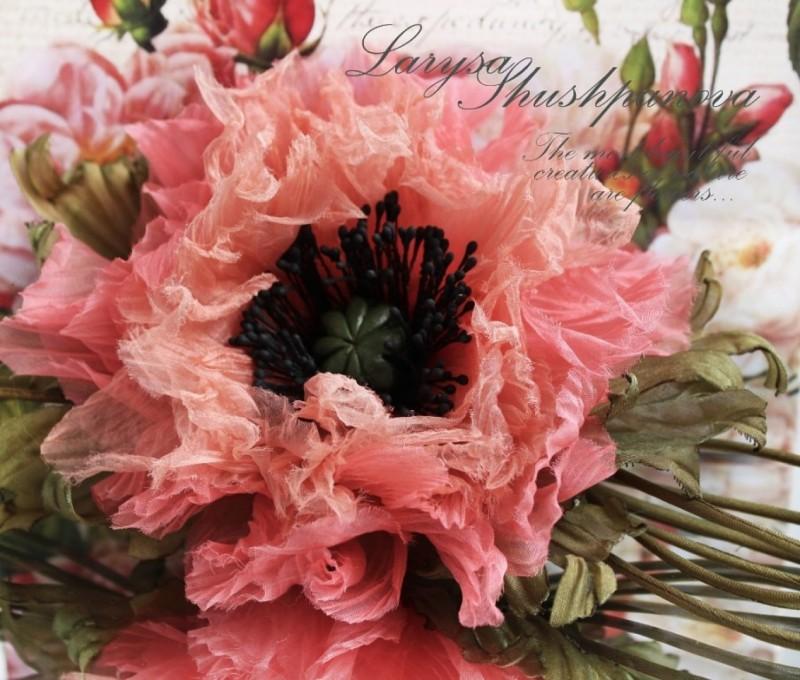 цветы из ткани Шелковый мак Романтика. Авторская работа