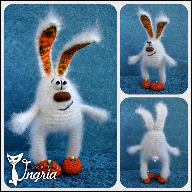 Заяц Побегаец, вязаная игрушка.