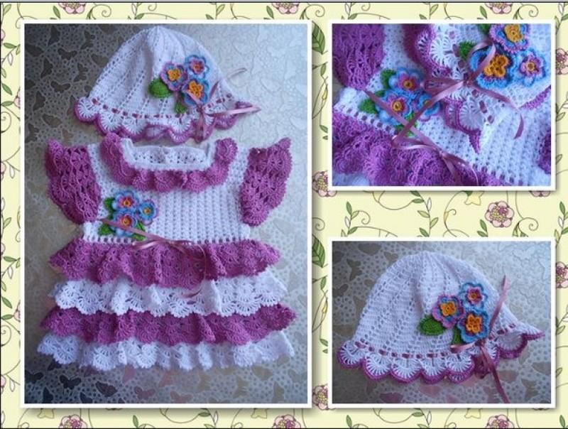 Вязаное детское платье Сирень