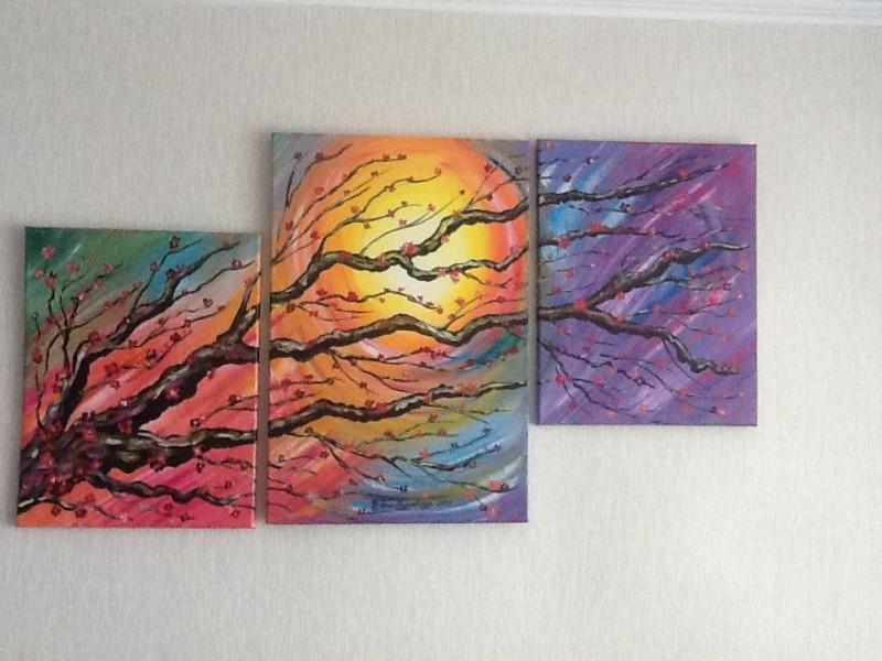 Авторская модульная картина: Цветение сакуры