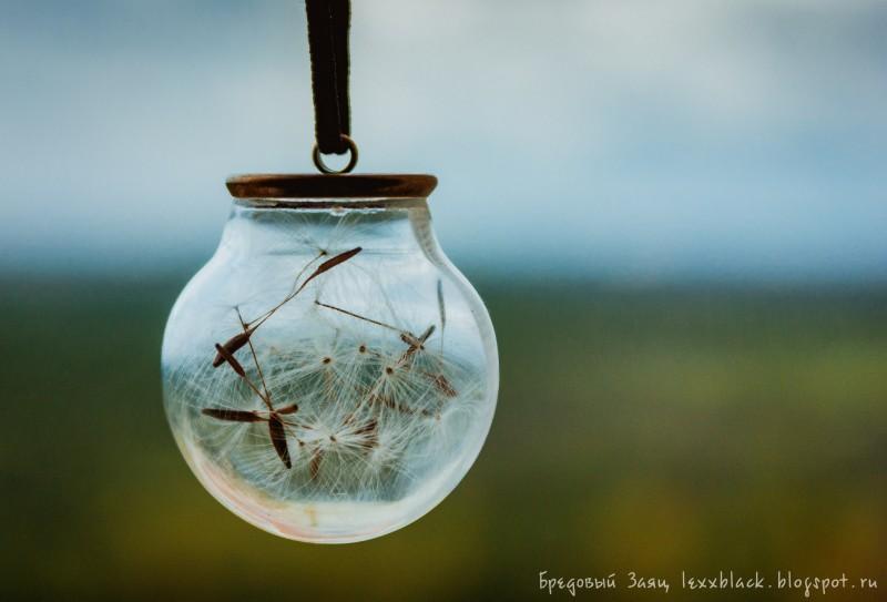 Кулон-шар (сфера) с одуванчиком (мох, песок, ракушка)