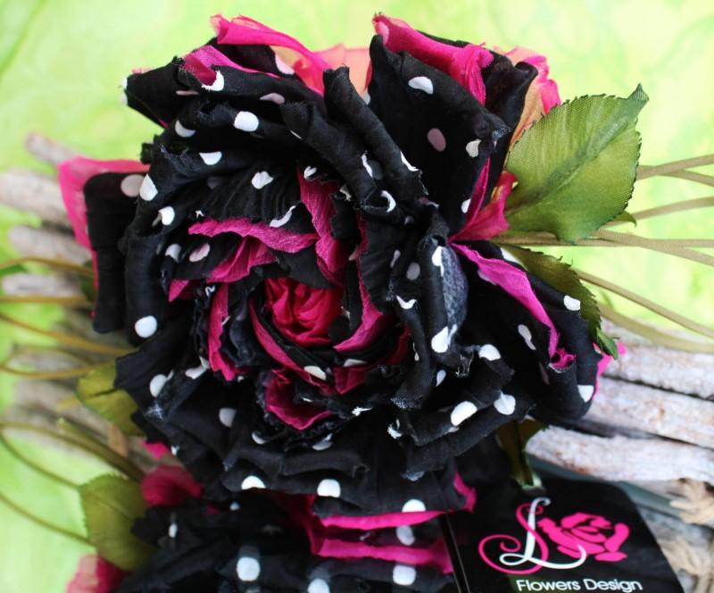 цветы из ткани брошь заколка роза «Суперстар»