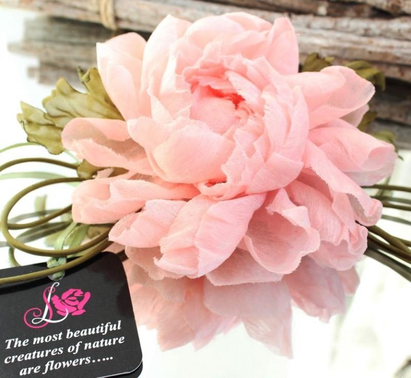 цветы из ткани брошь Розовый Пион
