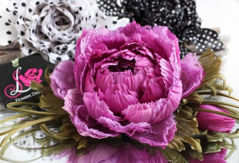 цветы из ткани Пион «Ягодное настроение»