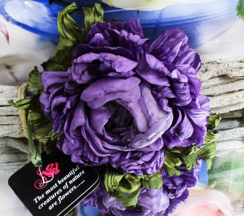 цветы из ткани брошь Виноградный пион