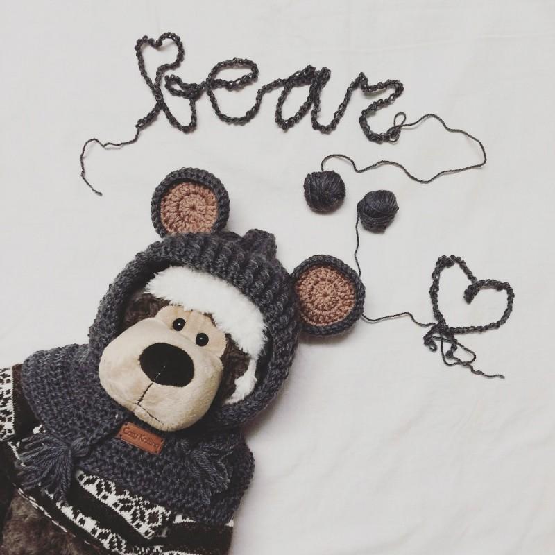 Детский капюшон-шарф с ушками Медведь