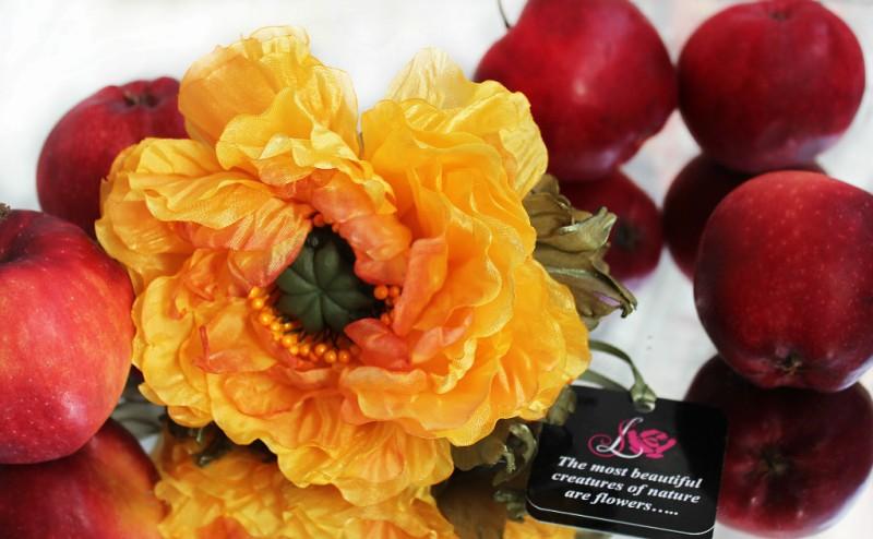 Цветы из ткани Мак «Осенний Поцелуй»