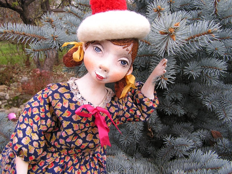 Подвижная кукла из папье маше ...Сестренка.
