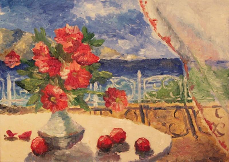 Картина Натюрморт с красными цветами