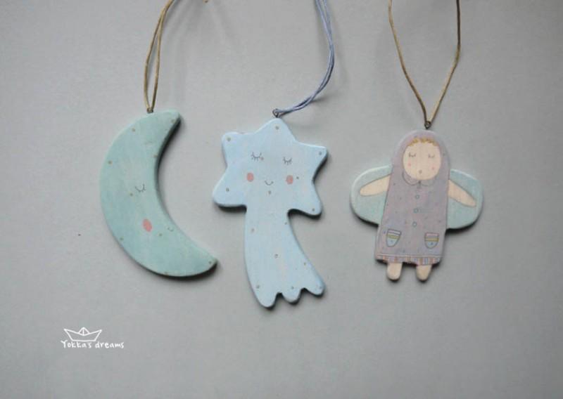Игрушки на ёлку (месяц, звездочка-комета, ангел)