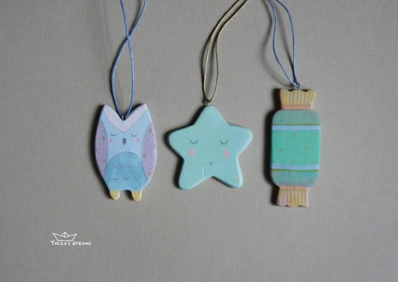 Игрушки на ёлку (сова, звездочка, конфета)