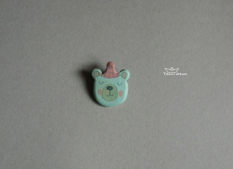 Брошь Мишка в шапке#1