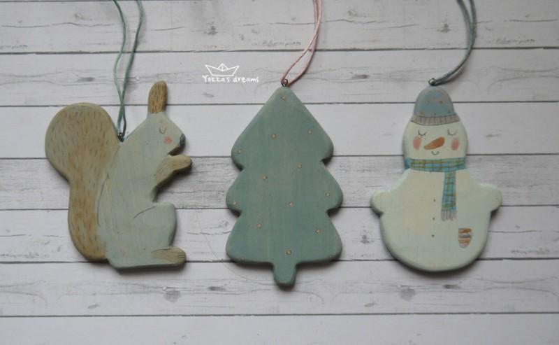 Ёлочная игрушка (белка, ёлка, снеговик)