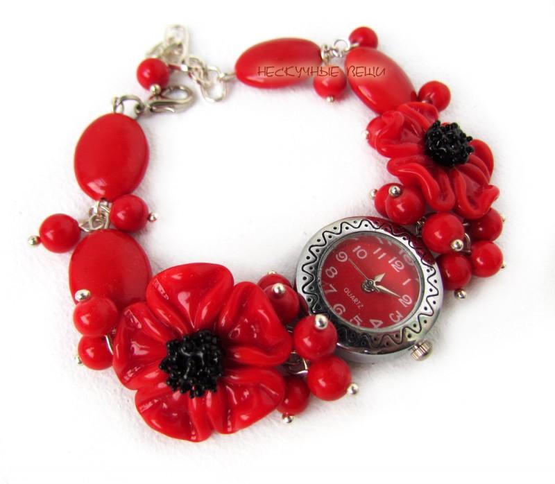 Красные маки наручные часы с бусинами лэмпворк