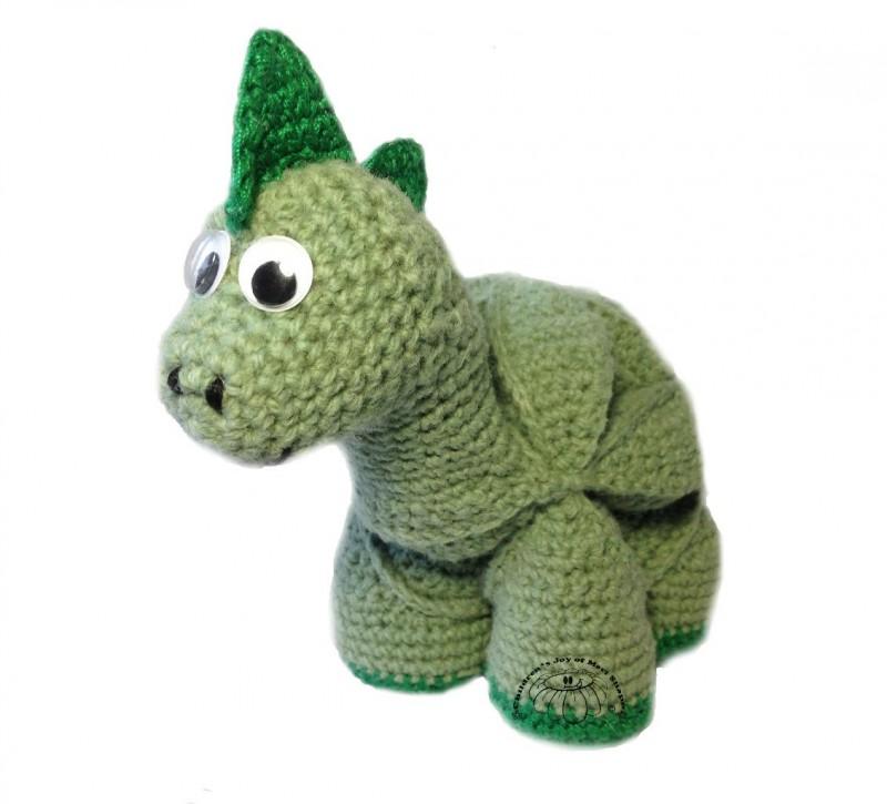 Развивающая игрушка вязаный пазл  (амиши) Динозаврик