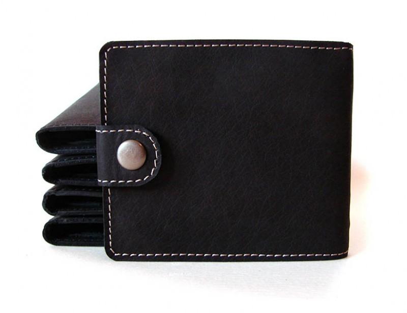 Мужской кошелек из натуральной кожи С контрастной строчкой