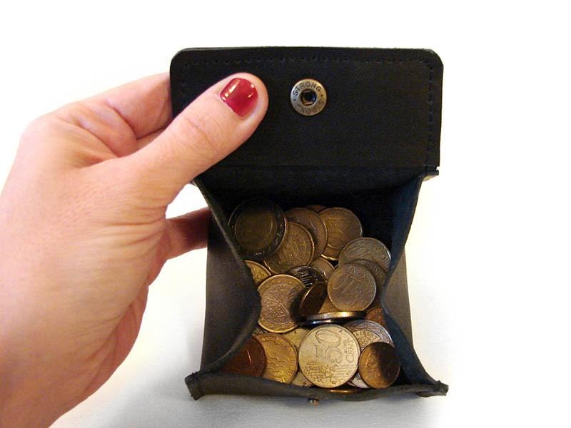 Монетница из натуральной кожи  Черная Коробочка