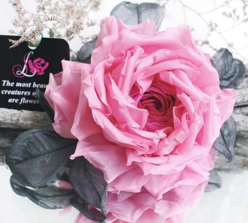 Цветы из ткани брошь Розовая Роза