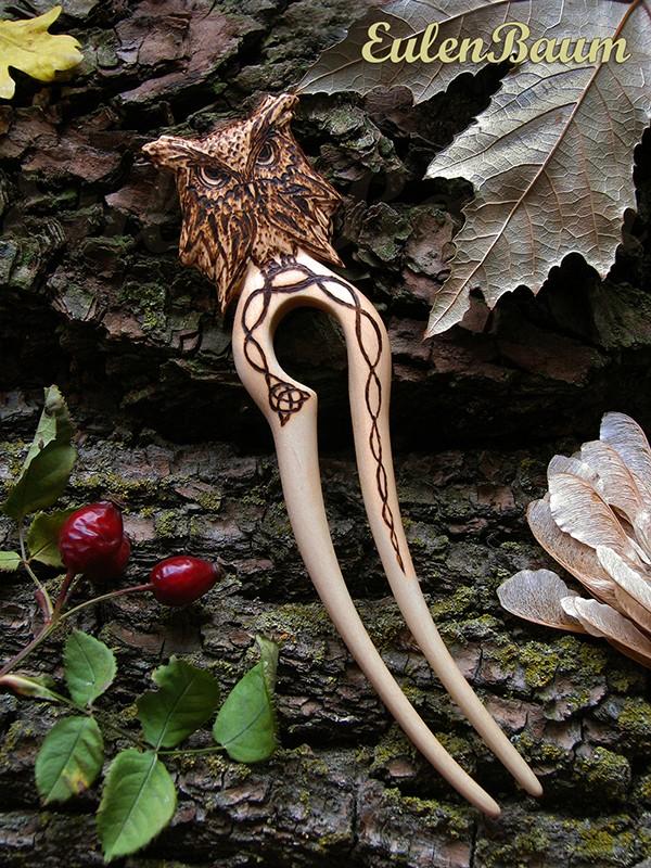 заколка для волос сова в кельтском стиле