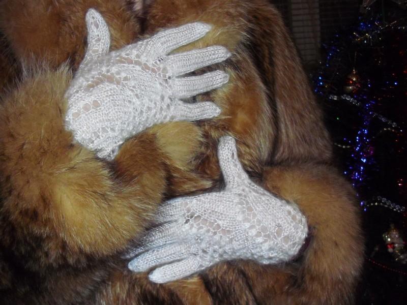 Перчатки ажурные пуховые