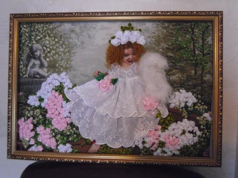 Картина лентами Ангел в розах