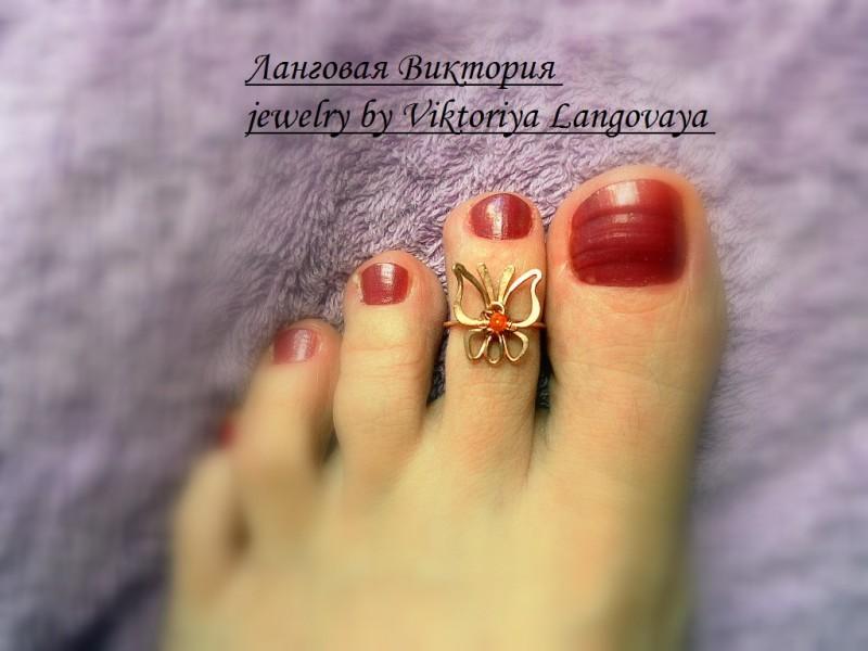 Кольцо на палец ноги `Бабочка`.
