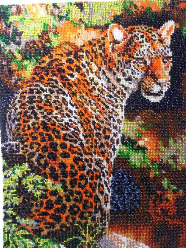 Картина вышитая бисером Леопард.