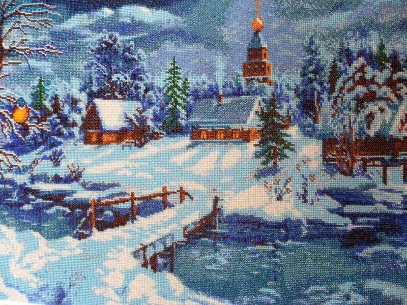 Картина вышитая бисером Сказочная зима.