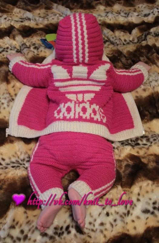 Розовый костюмчик Adidas для малышки на 3-9 мес 😊