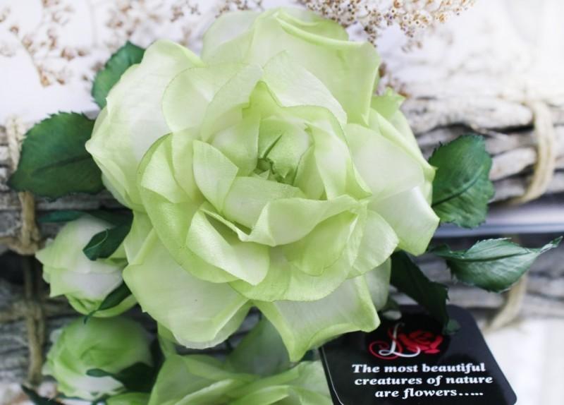 Брошь-заколка «Долларовая роза». Цветы из ткани.