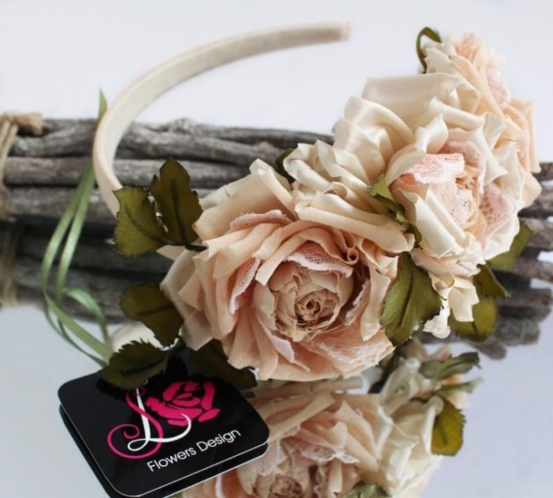Ободок с шелковыми розами Джульетта