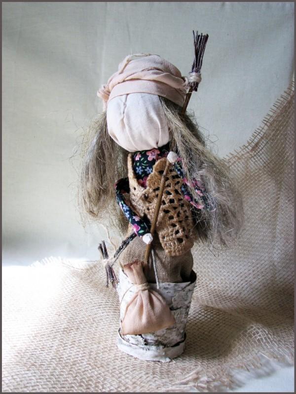 Кукла-оберег БАБА ЯГА в ступе.