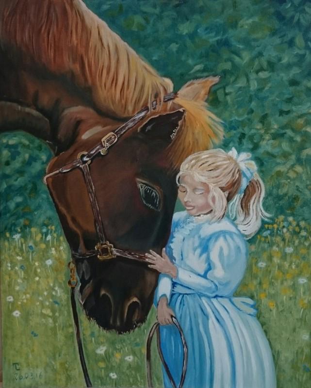 Картина Лошадь и девочка