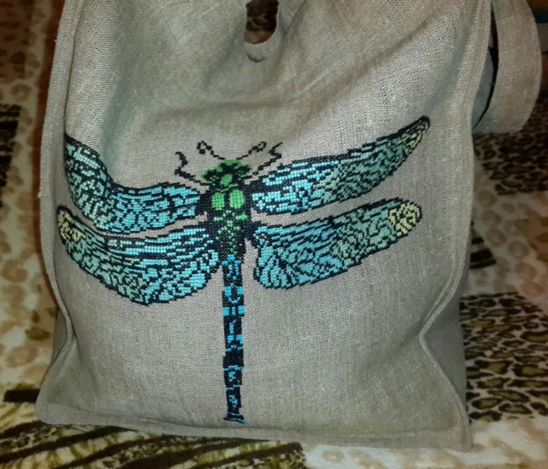Эко-сумка с вышивкойСтрекоза