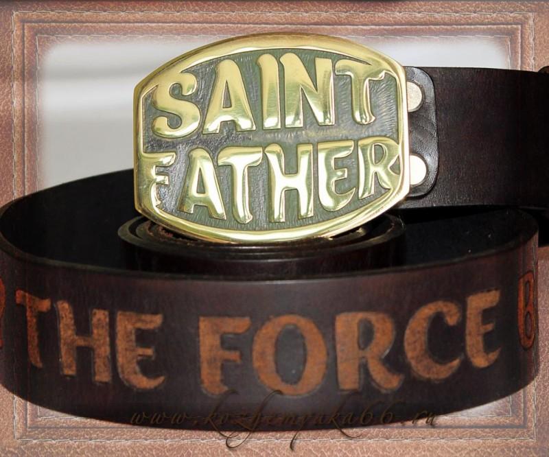 Авторский ремень ручной работы - Saint Father