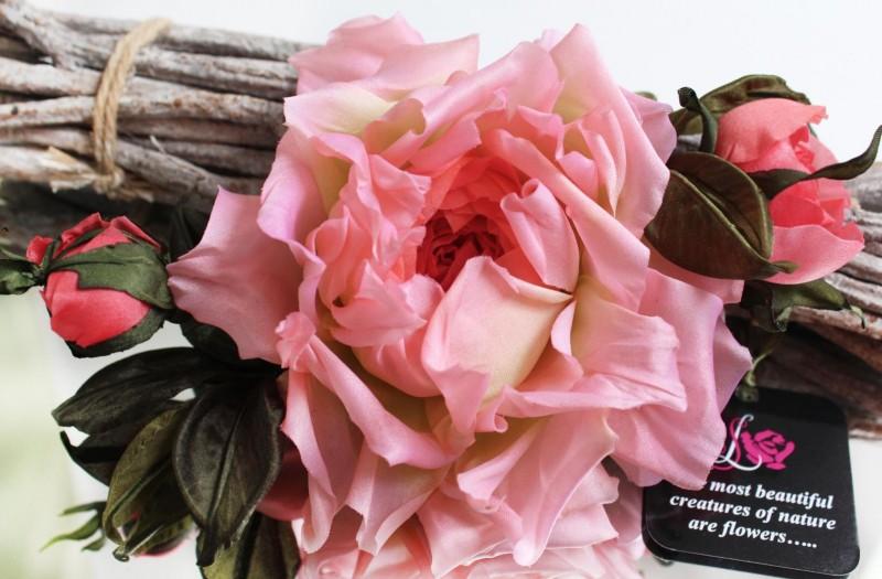 Брошь – заколка  шелковая роза «Монро». Цветы из ткани
