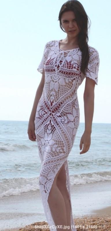 Авторское пляжное платье из хлопка Цветочный вальс