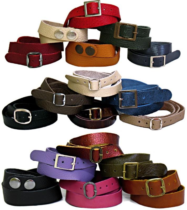 Разноцветные кожаные браслеты в 3 оборота вокруг руки