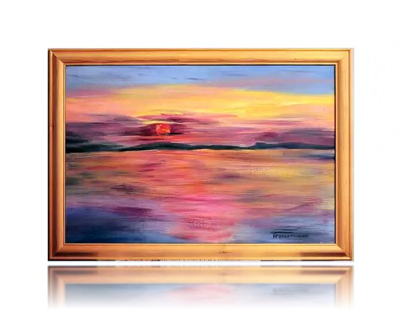 Авторская картина Закат на реке